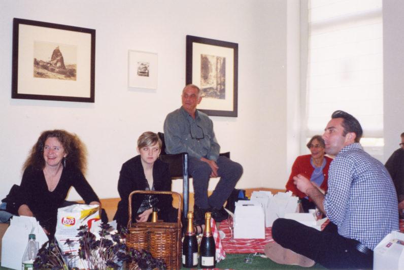 Bebe Nixon, Cara Megan Lewis, Lee Friedlander, Maria Friedlander and Matthew Yeager at gallery lunch