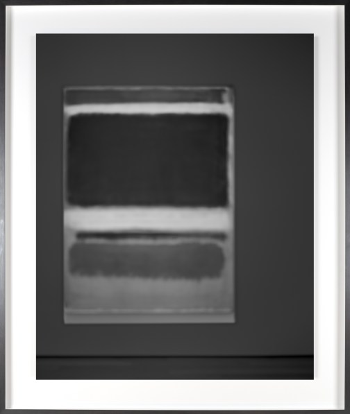 Black-and-white photograph of out of focus painting of vertical bars