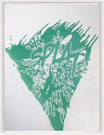 "A framed print of a light-green splotch with the word ""Splat"" in the middle."