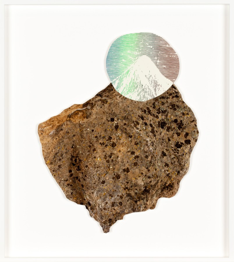 Collage of a rock with a circle cutout of a mountain peak in a colored gradient of orange, yellow, green, and blue overlaid