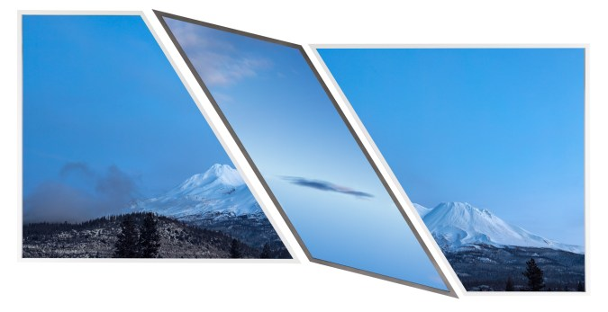 A triptych of photographs, the left and right are the sides of a mountain, the center is a cloud