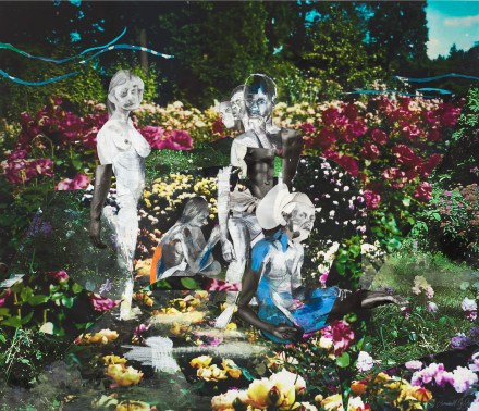 A brightly colored collage depicting a group of figures in a lush floral garden