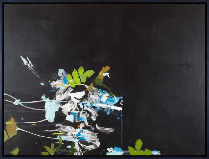 An abstract oil painting of a deconstructed black and white flower, with several bright green leaves