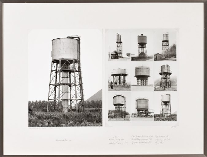 two black and white photographs of water towers in a single frame