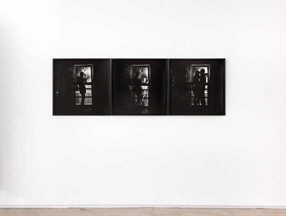 Triptych of three black and white photographs of people standing in front of or behind an illuminated screen door
