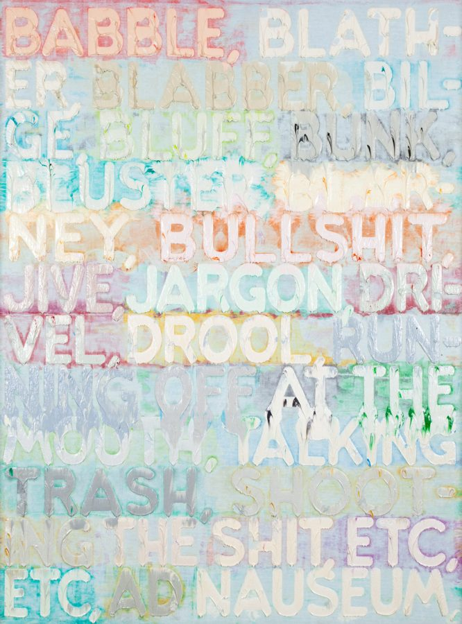 Vertical painting of synonyms for babble in different pastel colors