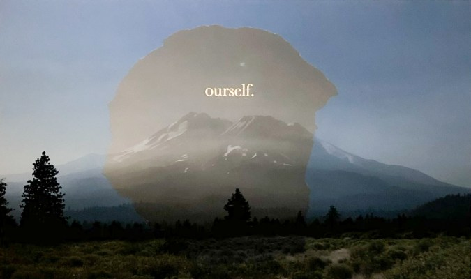 """Color collage of a mountain with text reading """"ourself."""" overlaid"""