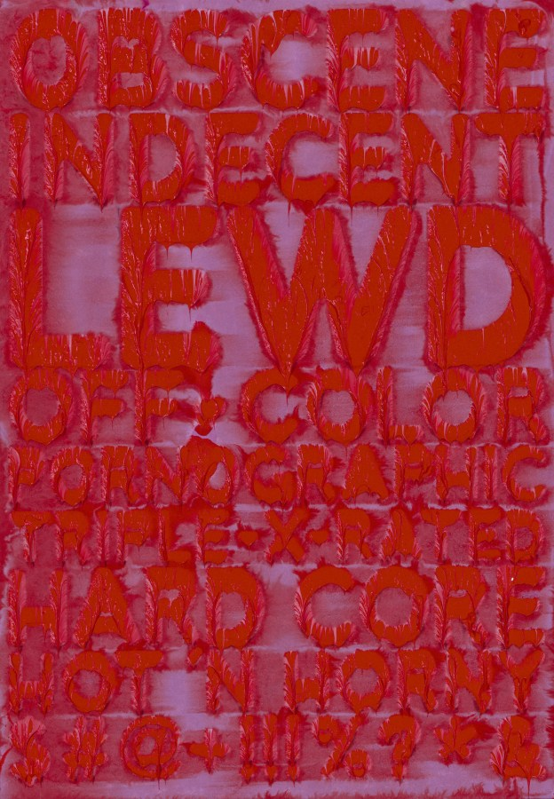 Purple panel with uppercase dripping red text reading OBSCENE and various synonyms