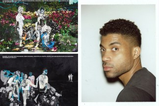 Two collaged artworks side by side with a photograph of the artist