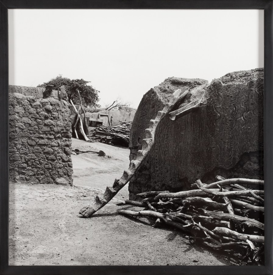 Framed black and white photograph of a chiseled tree branch leaning on an earthen wall