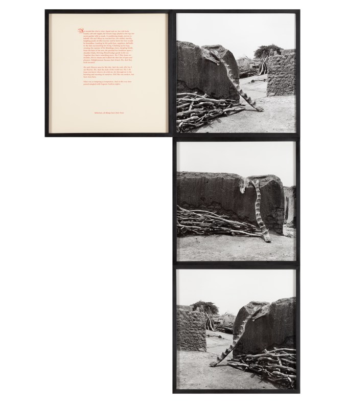 Framed artwork consisting of a column of three adjacent framed photographs and a framed text panel adjacent to the top image. The images depict homes in West Africa, with stairways leading to the tops of homes.