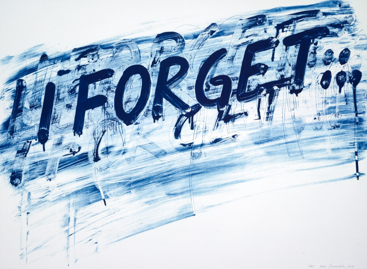 """A print of dark blue text reading """"I Forget..."""" over a light blue ink smudge."""