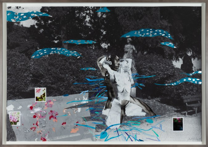 A collage of two nude figures embracing, on the canvas of a black and white park scene. The figures are surrounded by bright blue lines and shapes.