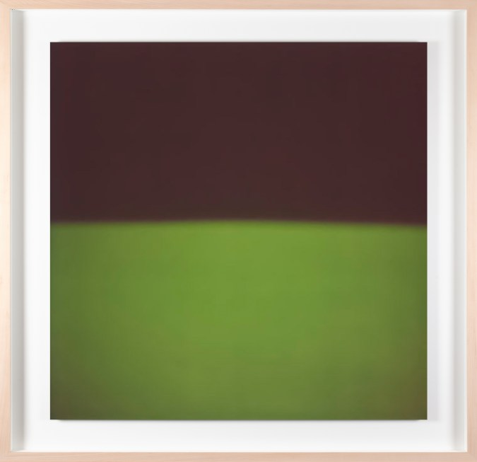 A framed photograph of a bright green color field, with black in the top half.