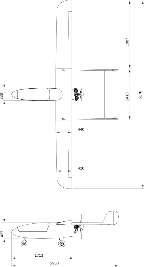 Drawing with dimensions of UAV D7 with 5.1 meters wingspan