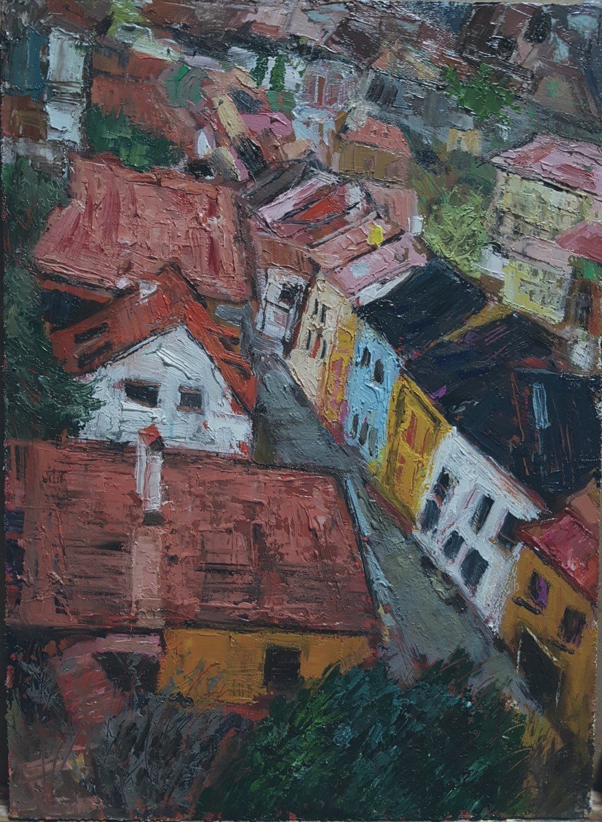 Hun Jung Kim, Red Roofs in Prague, 2017