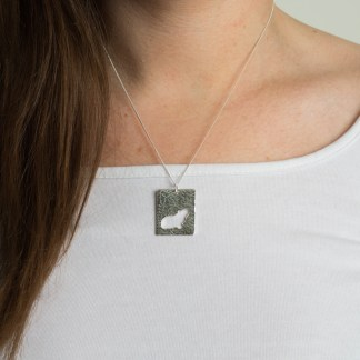Guinea Pig Pendant on neck 3 – Fragment Designs