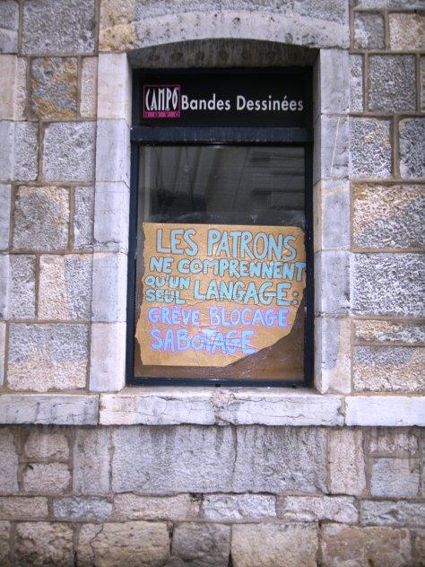 Patron, grève, blocage, sabotage - affiche - besancon, sept2013