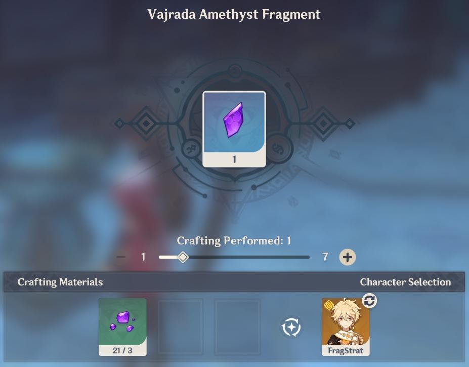 vajrada amethyst fragment crafting