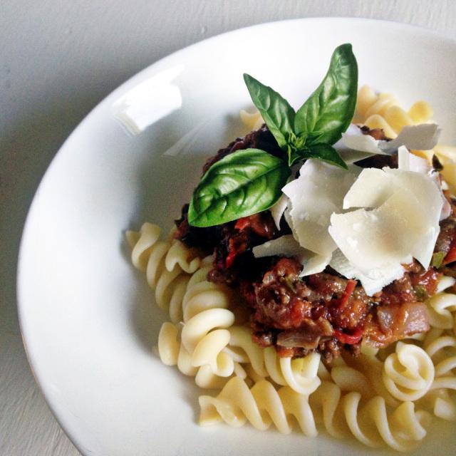 Garden Italian Meat Sauce on rotini