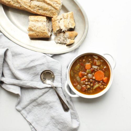 Easy hearty, healthy lentil soup, packed with fibre, vegan, gluten free and ready in under 1 hour! Dietitian approved and the whole family will love it!