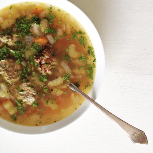 Vegetable Soup with Pesto Turkey Meatballs (Gluten-Free)