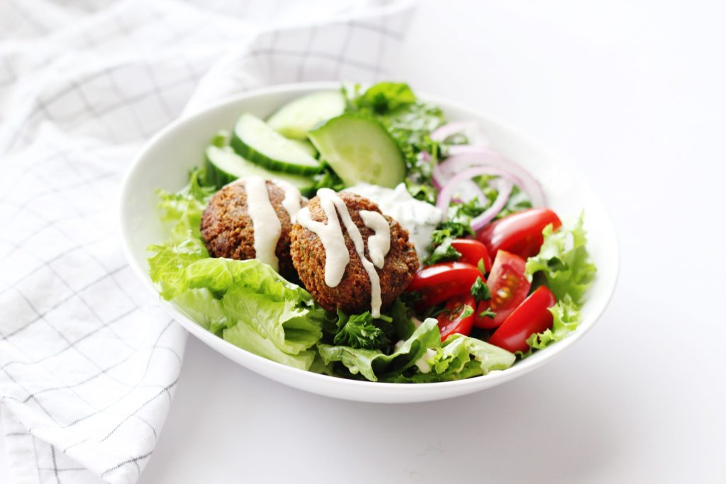 Falafel Salad with Lemon Garlic Tahini Dressing