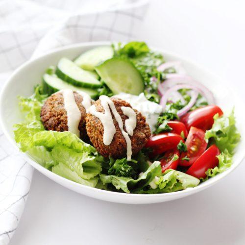 Falafel Salad with Lemon Garlic Tahini Dressing