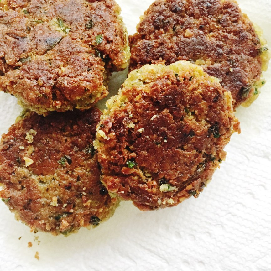 Cooked Falafels for Falafel Salad with Lemon Garlic Tahini Dressing