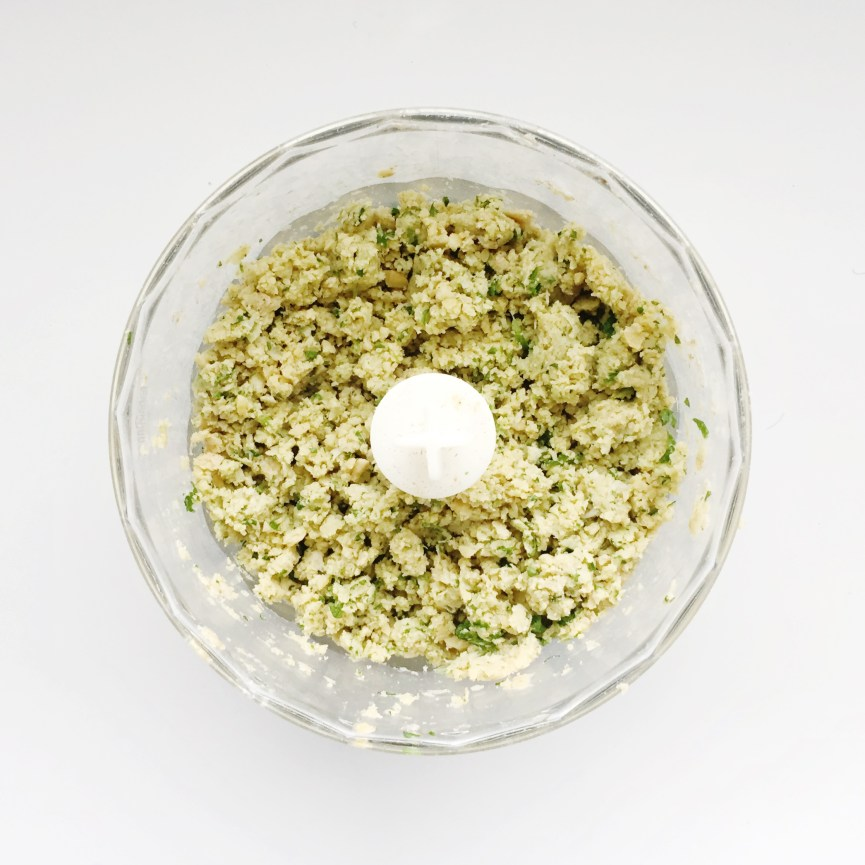 Falafel ingredients in food processor