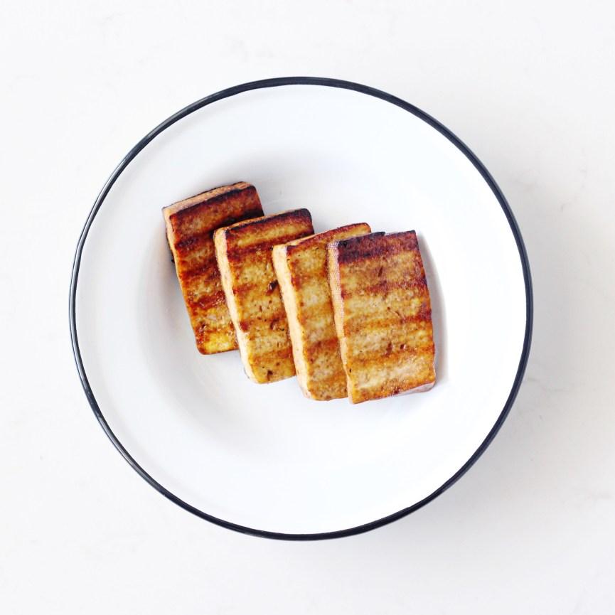Crispy tofu in white bowl