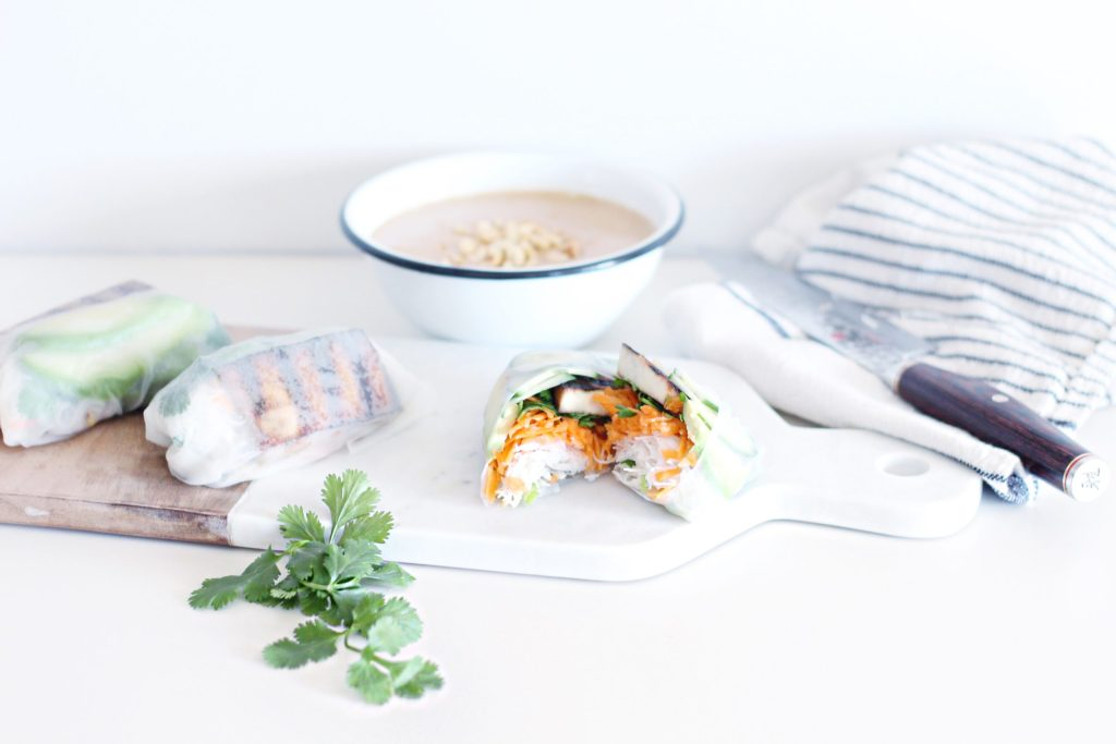 Crispy tofu spring rolls with peanut dipping sauce