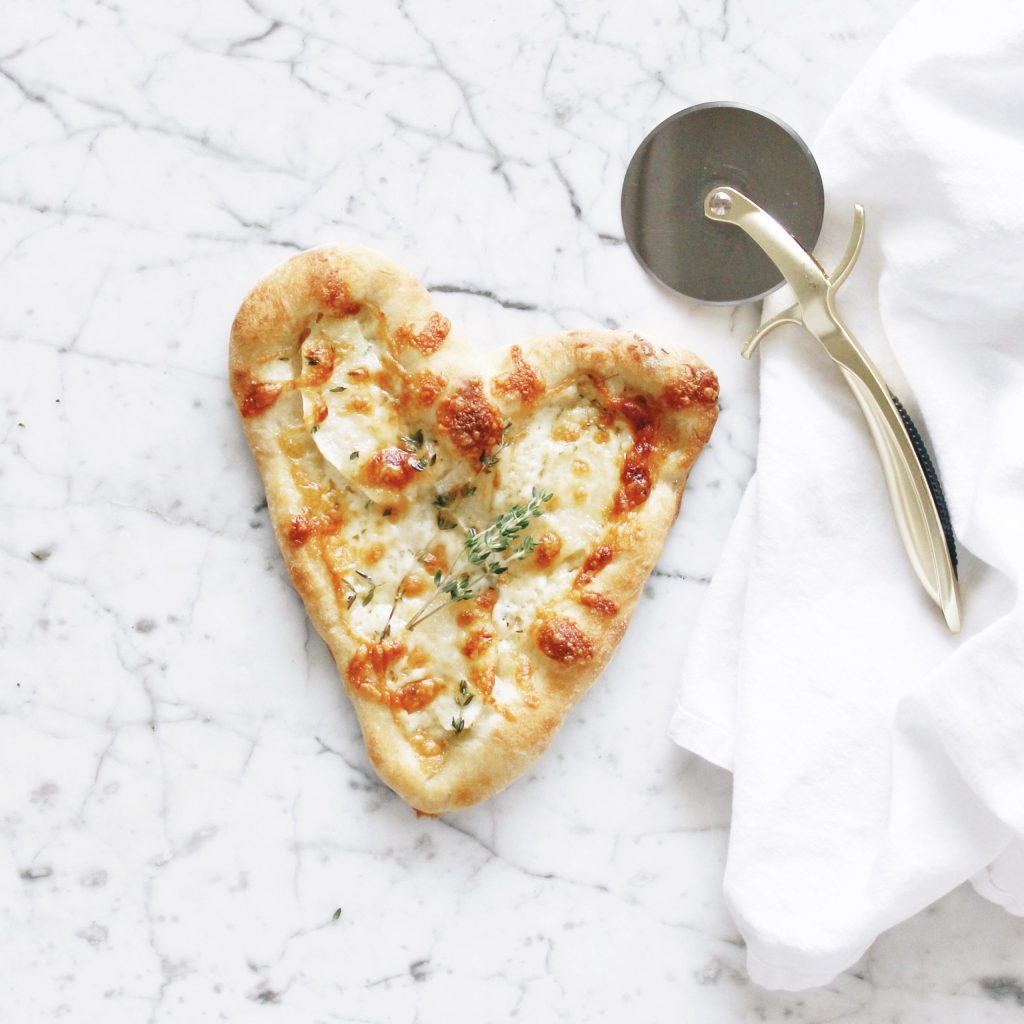 Apple, Cheddar & Thyme Heart-Shaped Pizza
