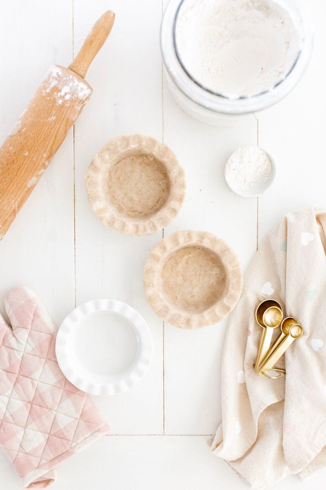 Gluten free pie crust recipe, gold measuring spoons