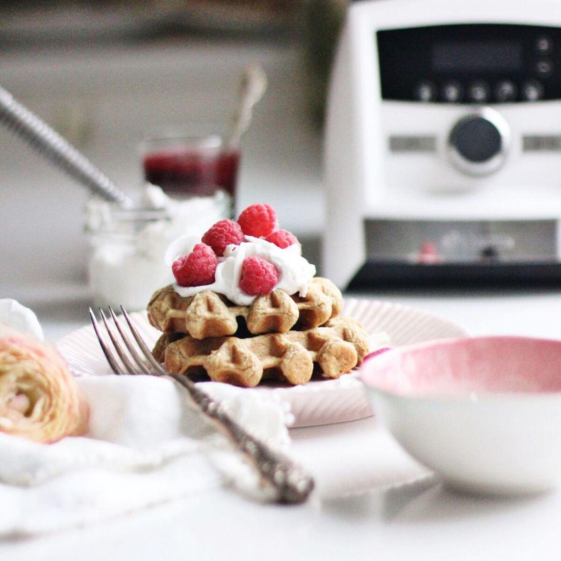 Raspberry Coconut Dairy Free Waffles