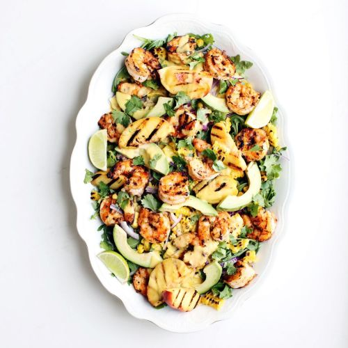 Grilled Peach and Corn Salad with Spicy Prawns & Peach Dressing (gluten free)
