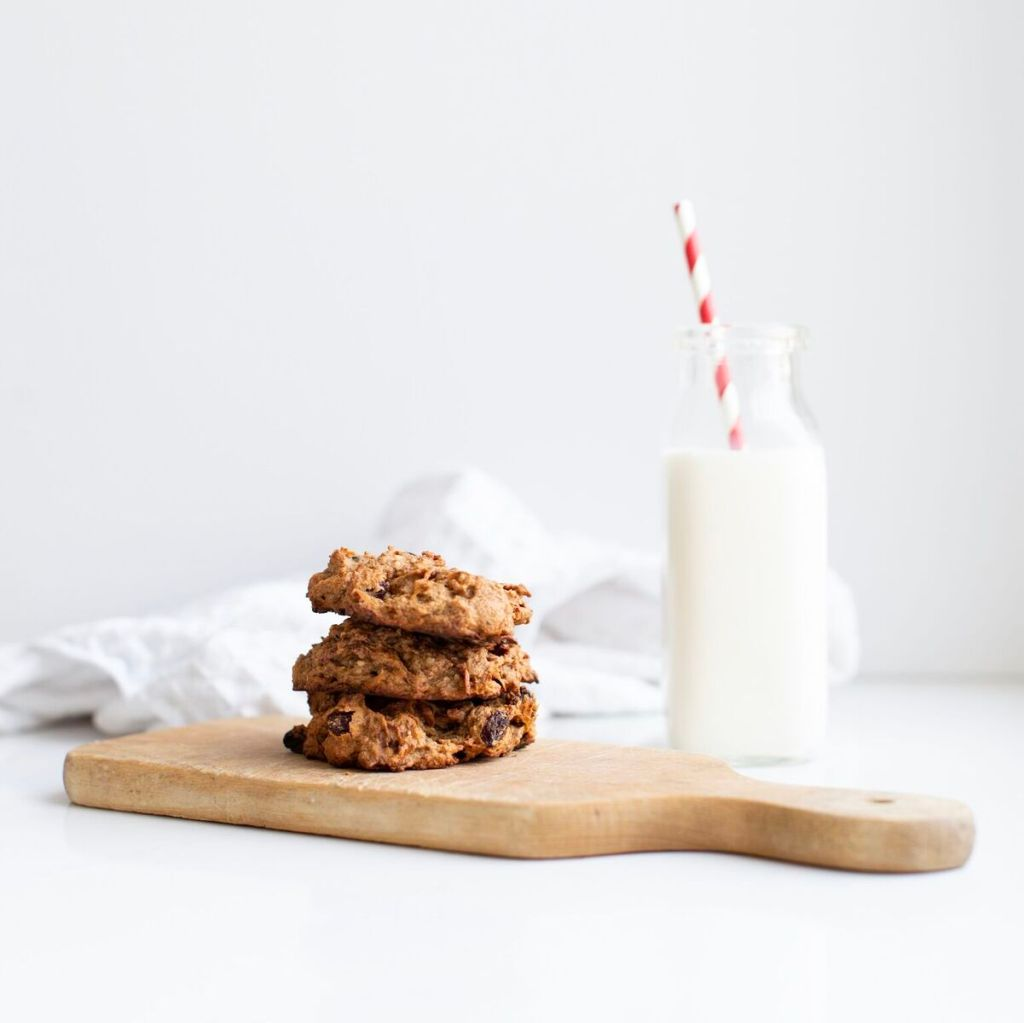 Healthy veggie-packed cookies that are nut free, gluten free and vegan, perfect or school lunches and are so moist and delicious! These freeze beautifully. From the kitchen of Tori Wesszer, Registered Dietitian with Fraiche Nutrition.