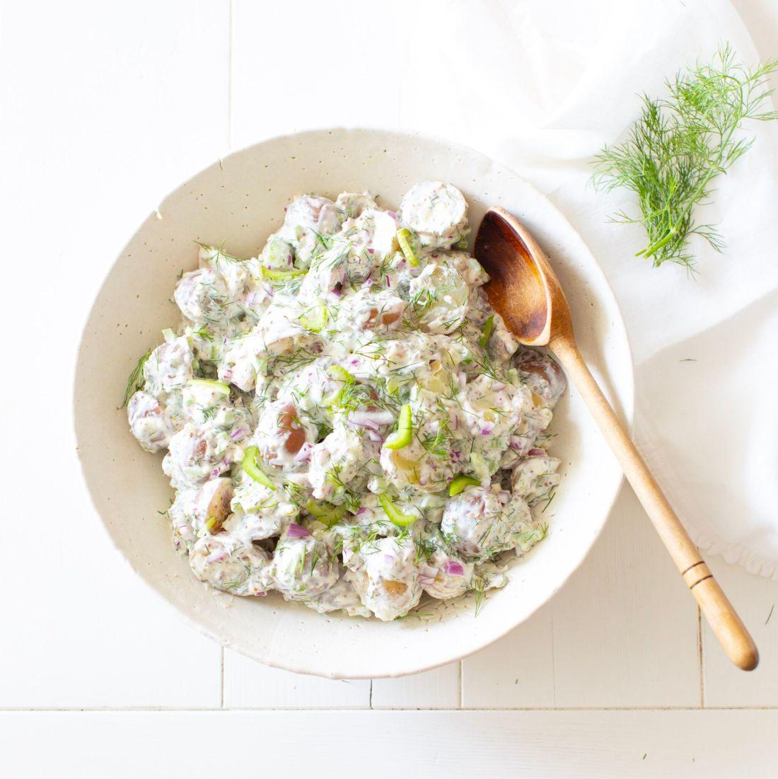 Creamy Potato Dill Salad made with Greek Yogurt