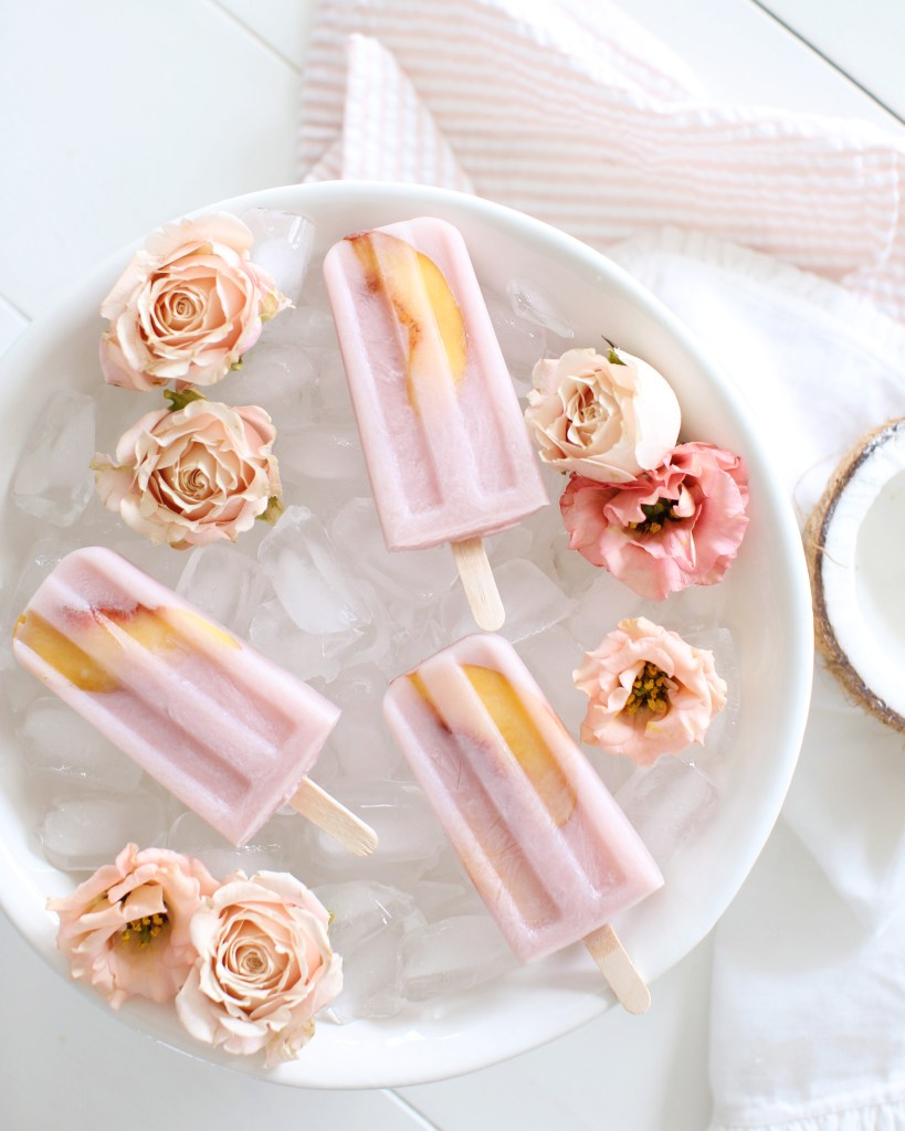 Spiked Coconut Peach Hibiscus Popsicles