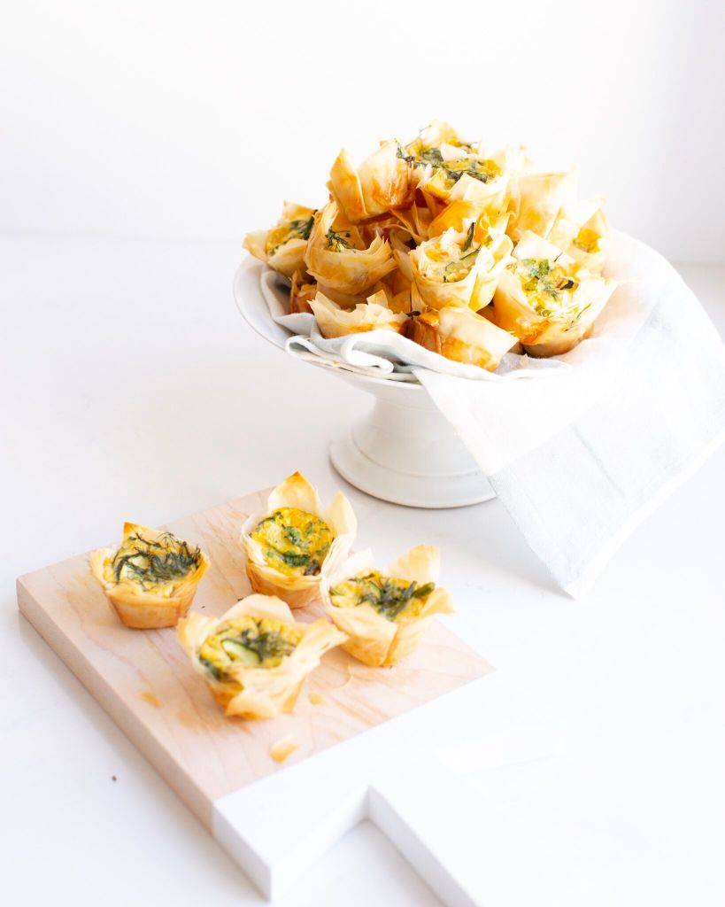 Mini Spring Garden Quiche filled with veggies and herbs