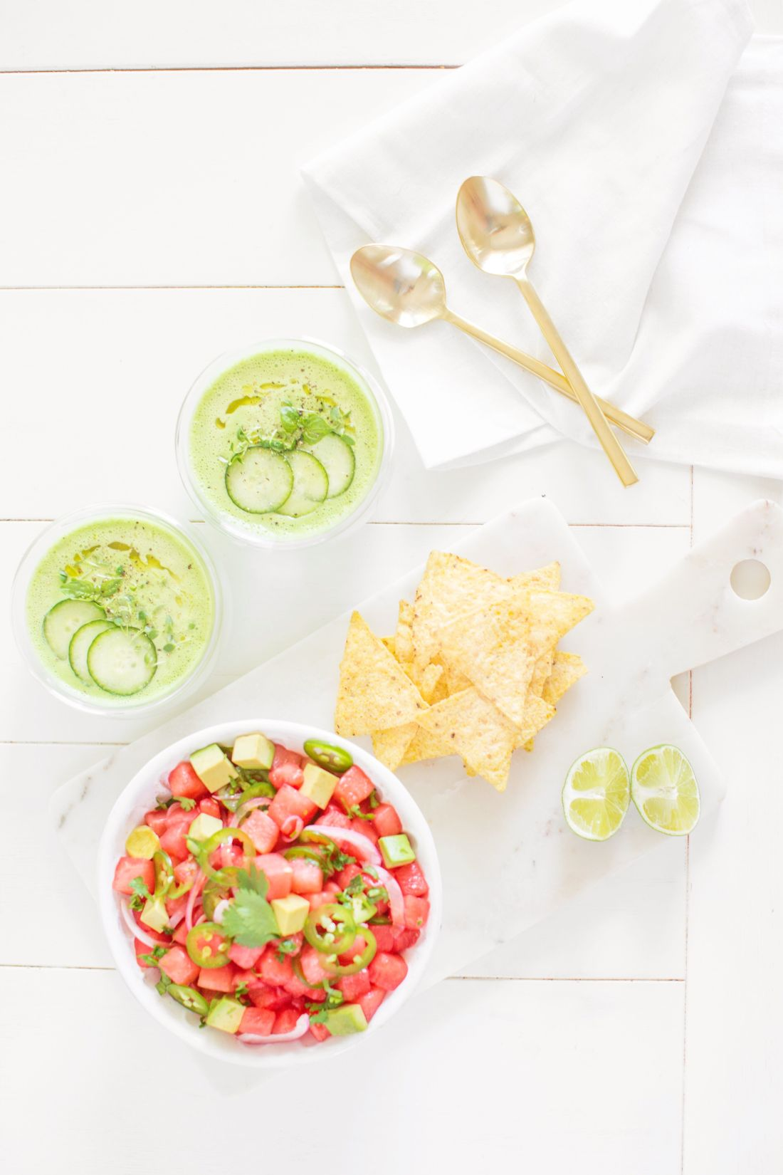 Green Gazpacho and Watermelon Ceviche - the best summer Spanish inspired Appies!