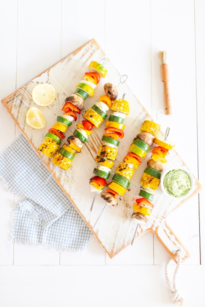 Grilled Summer Vegetable Skewers with herbed butter and our top grilling tips.