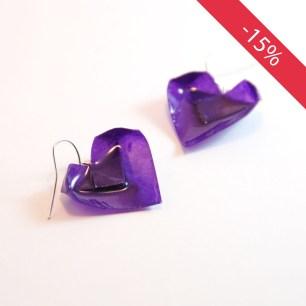 Coeurs violets - Boucles d'oreilles