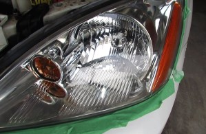 Headlight lens restored to new