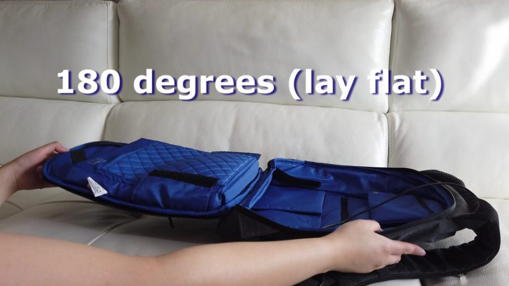Backpack at 180 degrees (lay flat)