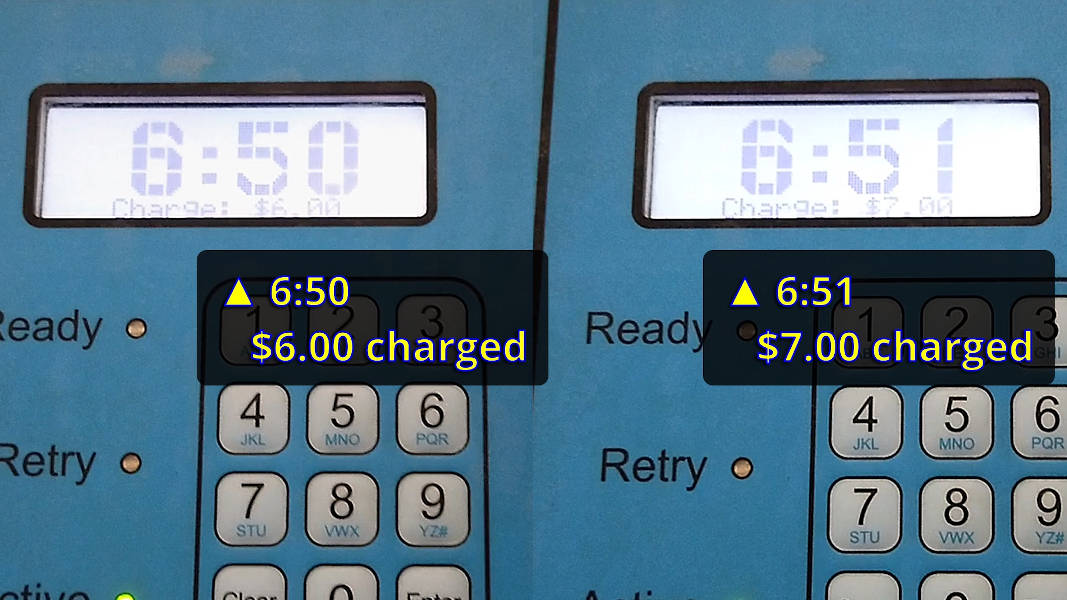 Self-serve car wash charging next minute before end of current minute
