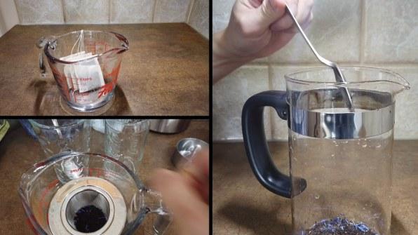 Making the tea for Bubble Tea using Tea leaves