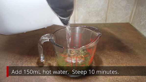 Adding hot water to Genmaicha tea leaves