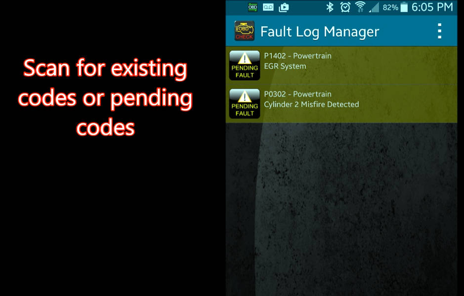 Torque app showing two pending OBDII fault codes