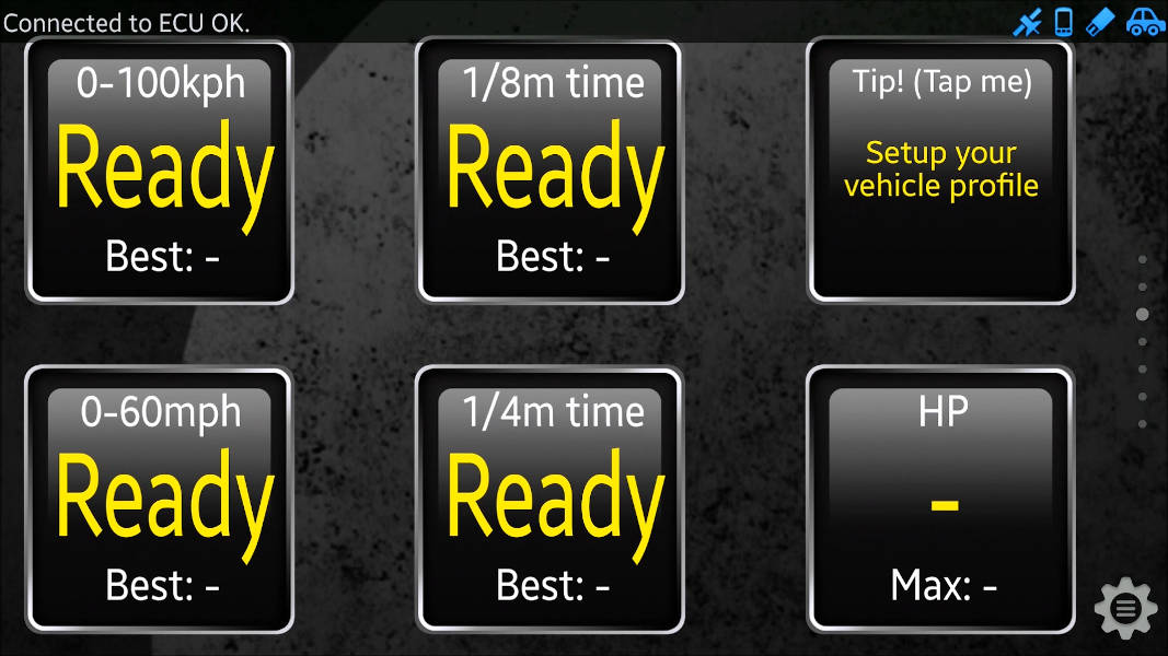 Torque app showing several widgets for 1/4 mile, 1/8 mile, 0 - 100 kph, 0 - 60 mph, calculated HP